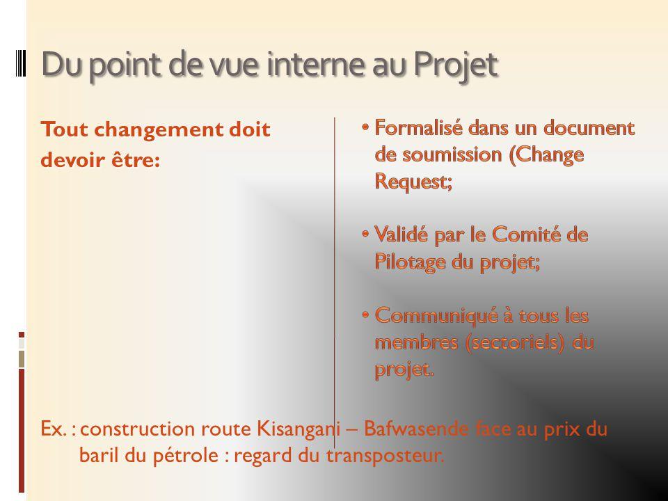 Du point de vue interne au Projet Tout changement doit devoir être: Ex. : construction route Kisangani – Bafwasende face au prix du baril du pétrole :
