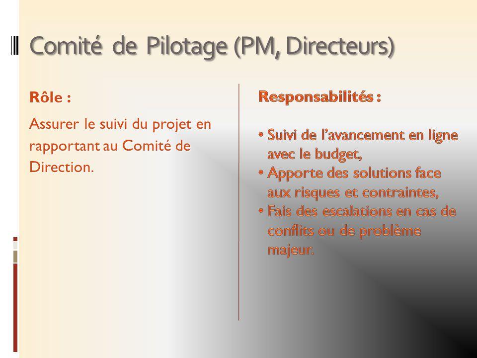 Comité de Pilotage (PM, Directeurs) Rôle : Assurer le suivi du projet en rapportant au Comité de Direction.