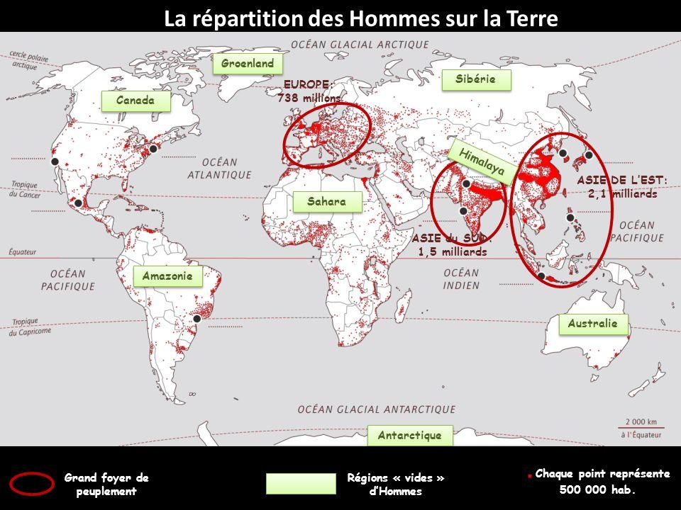 La répartition des Hommes sur la Terre ASIE DE LEST: 2,1 milliards ASIE du SUD: 1,5 milliards EUROPE: 738 millions Grand foyer de peuplement Régions «