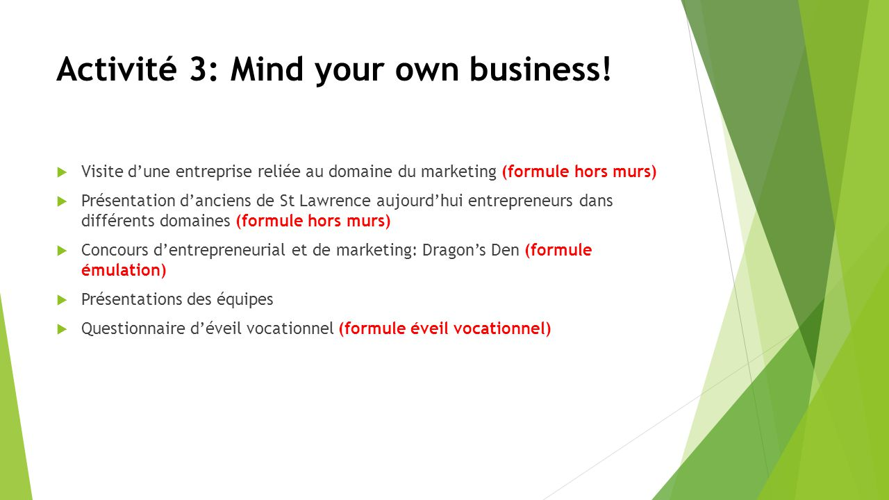 Activité 3: Mind your own business.