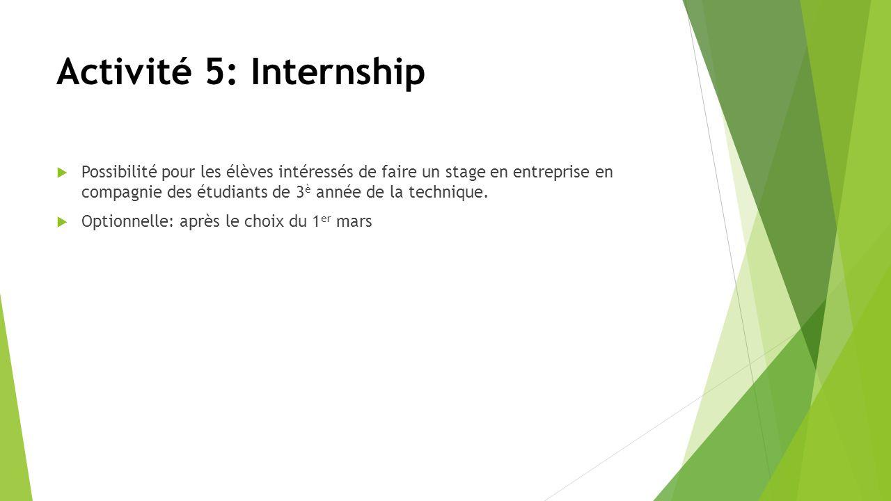 Activité 5: Internship Possibilité pour les élèves intéressés de faire un stage en entreprise en compagnie des étudiants de 3 è année de la technique.