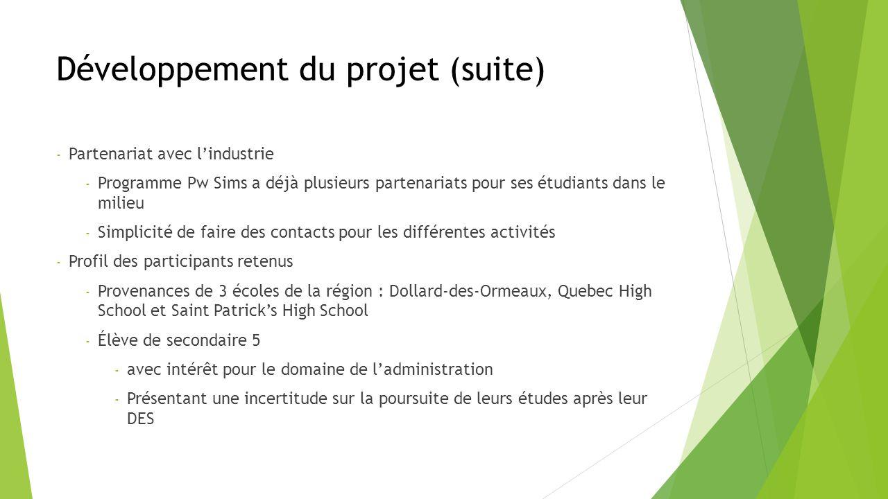 Développement du projet (suite) - Partenariat avec lindustrie - Programme Pw Sims a déjà plusieurs partenariats pour ses étudiants dans le milieu - Simplicité de faire des contacts pour les différentes activités - Profil des participants retenus - Provenances de 3 écoles de la région : Dollard-des-Ormeaux, Quebec High School et Saint Patricks High School - Élève de secondaire 5 - avec intérêt pour le domaine de ladministration - Présentant une incertitude sur la poursuite de leurs études après leur DES