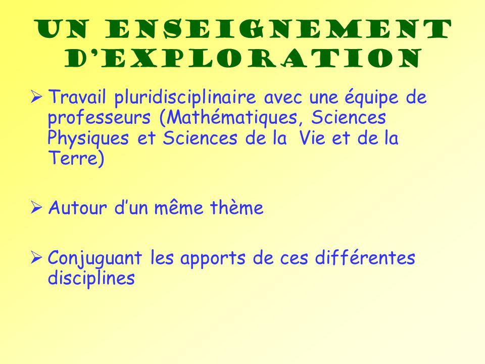 Un enseignement dexploration Travail pluridisciplinaire avec une équipe de professeurs (Mathématiques, Sciences Physiques et Sciences de la Vie et de