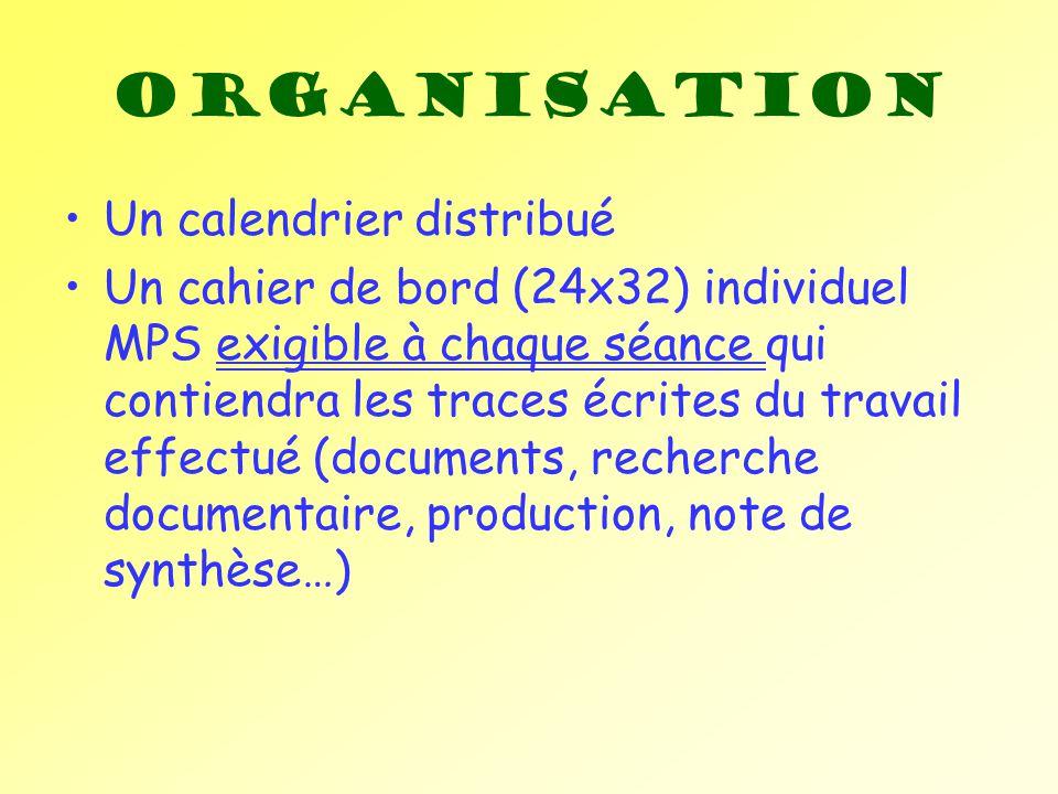 Un calendrier distribué Un cahier de bord (24x32) individuel MPS exigible à chaque séance qui contiendra les traces écrites du travail effectué (docum