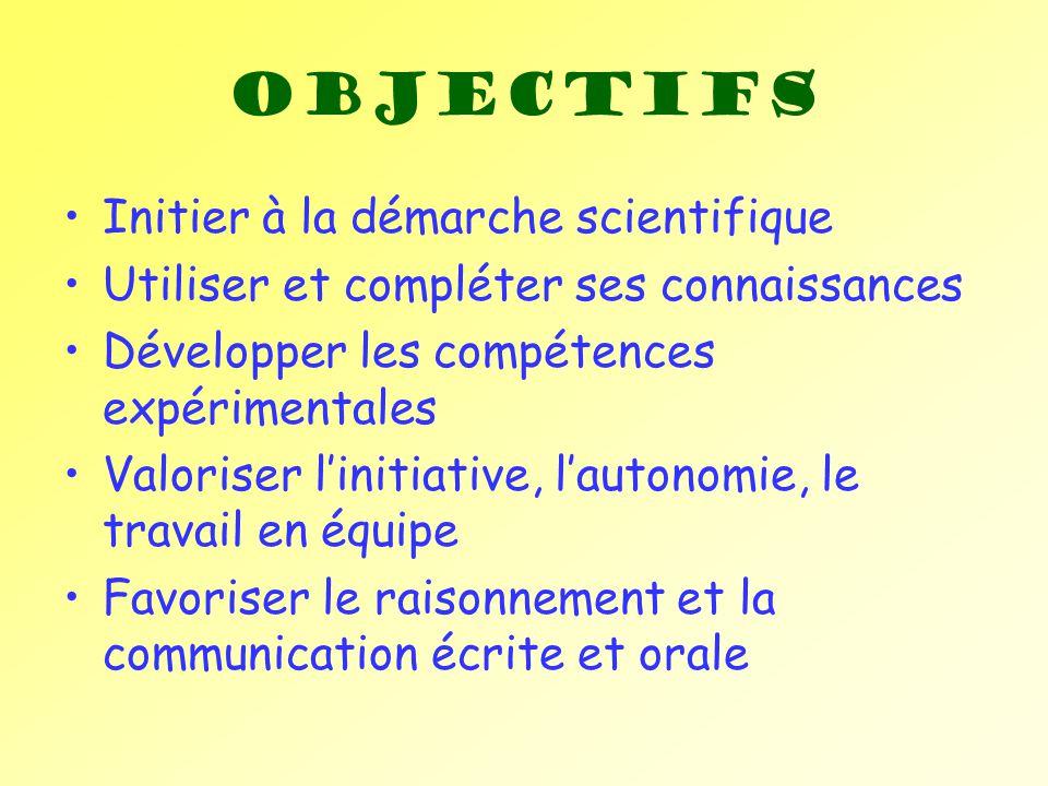 Objectifs Initier à la démarche scientifique Utiliser et compléter ses connaissances Développer les compétences expérimentales Valoriser linitiative,