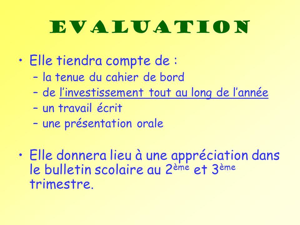 Evaluation Elle tiendra compte de : –la tenue du cahier de bord –de linvestissement tout au long de lannée –un travail écrit –une présentation orale E