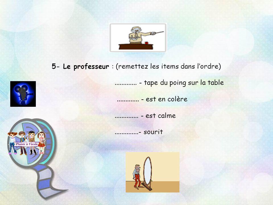 5- Le professeur : (remettez les items dans lordre).............