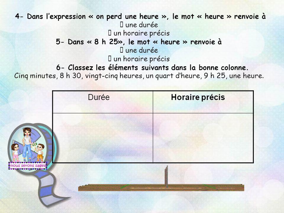 4- Dans lexpression « on perd une heure », le mot « heure » renvoie à une durée un horaire précis 5- Dans « 8 h 25», le mot « heure » renvoie à une durée un horaire précis 6- Classez les éléments suivants dans la bonne colonne.