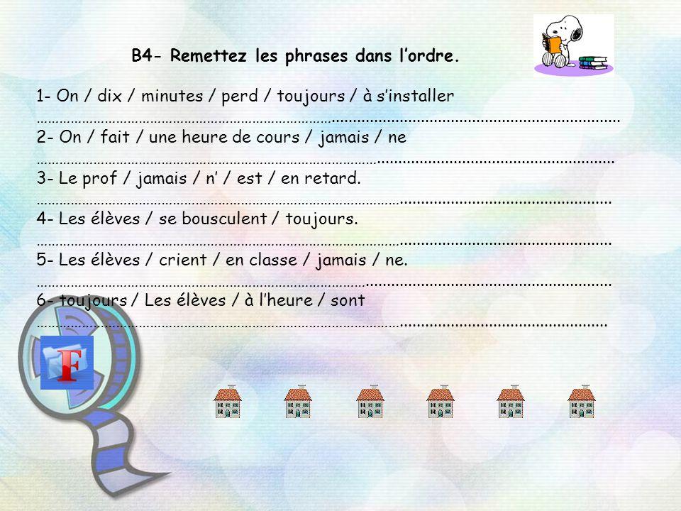 B4- Remettez les phrases dans lordre. 1- On / dix / minutes / perd / toujours / à sinstaller ……………………………………………………………………...............................