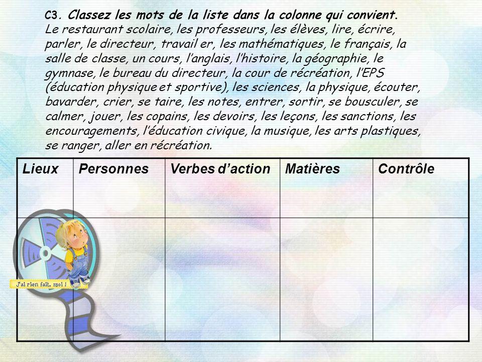 C3. Classez les mots de la liste dans la colonne qui convient. Le restaurant scolaire, les professeurs, les élèves, lire, écrire, parler, le directeur