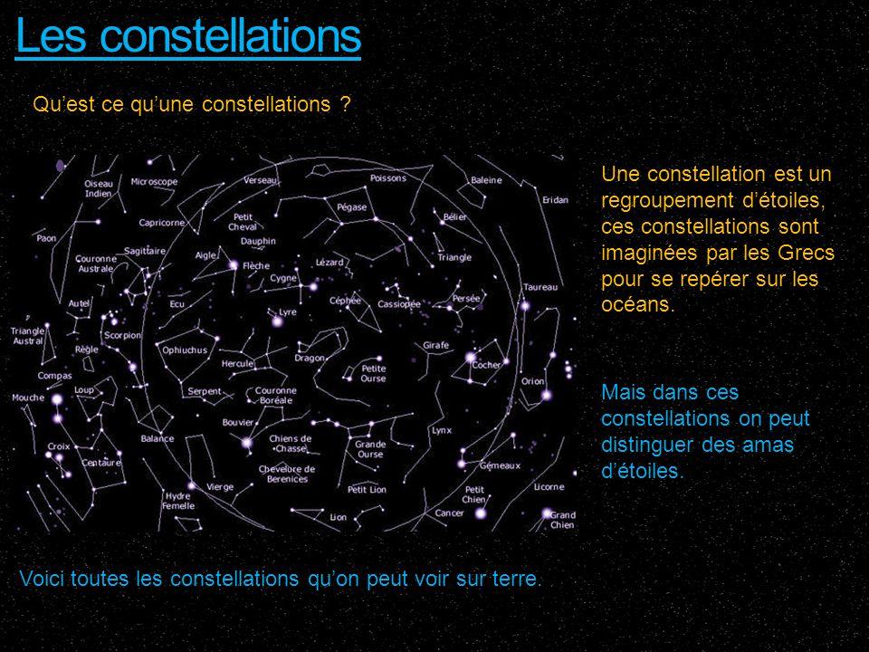 Les constellations Voici toutes les constellations quon peut voir sur terre. Quest ce quune constellations ? Une constellation est un regroupement dét