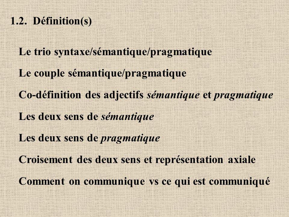 1.2. Définition(s) Le trio syntaxe/sémantique/pragmatique Le couple sémantique/pragmatique Co-définition des adjectifs sémantique et pragmatique Les d