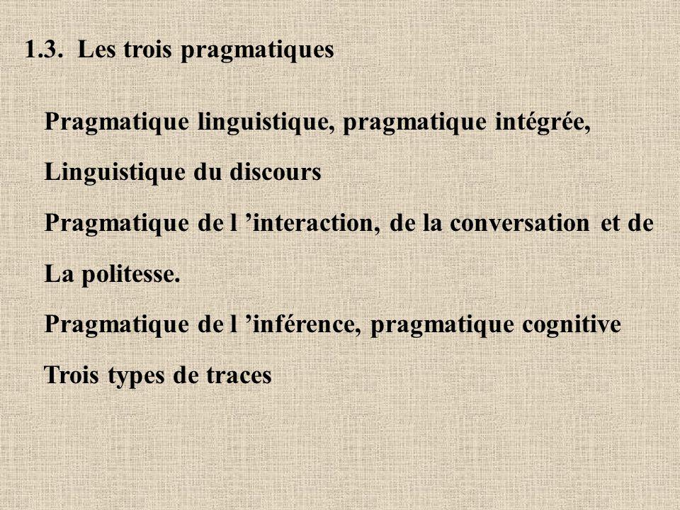 1.3. Les trois pragmatiques Pragmatique linguistique, pragmatique intégrée, Linguistique du discours Pragmatique de l interaction, de la conversation