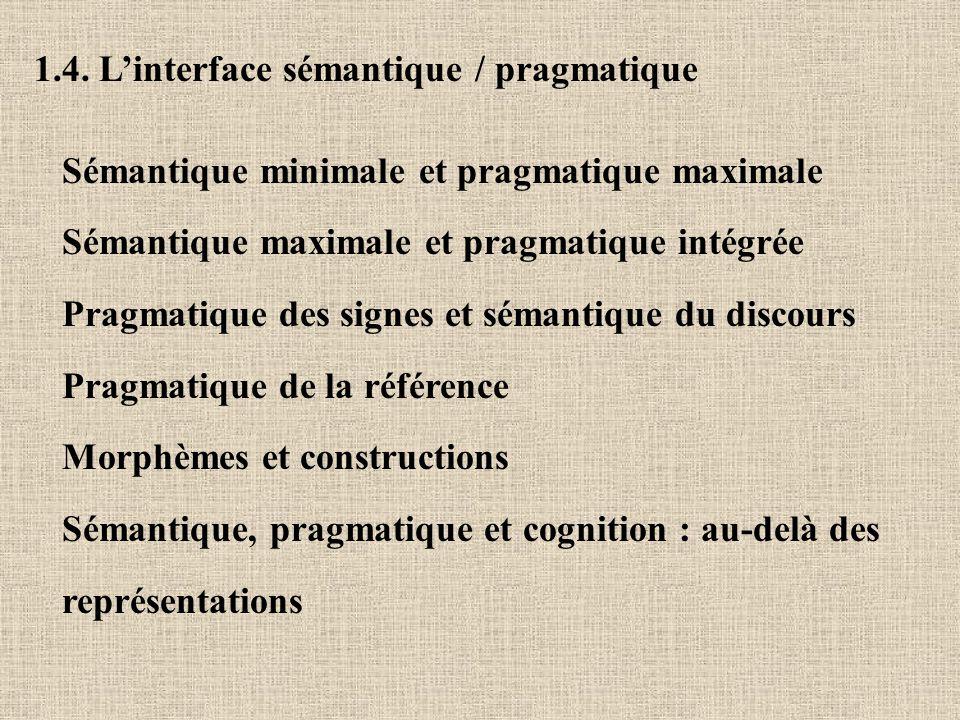 1.4. Linterface sémantique / pragmatique Sémantique minimale et pragmatique maximale Sémantique maximale et pragmatique intégrée Pragmatique des signe