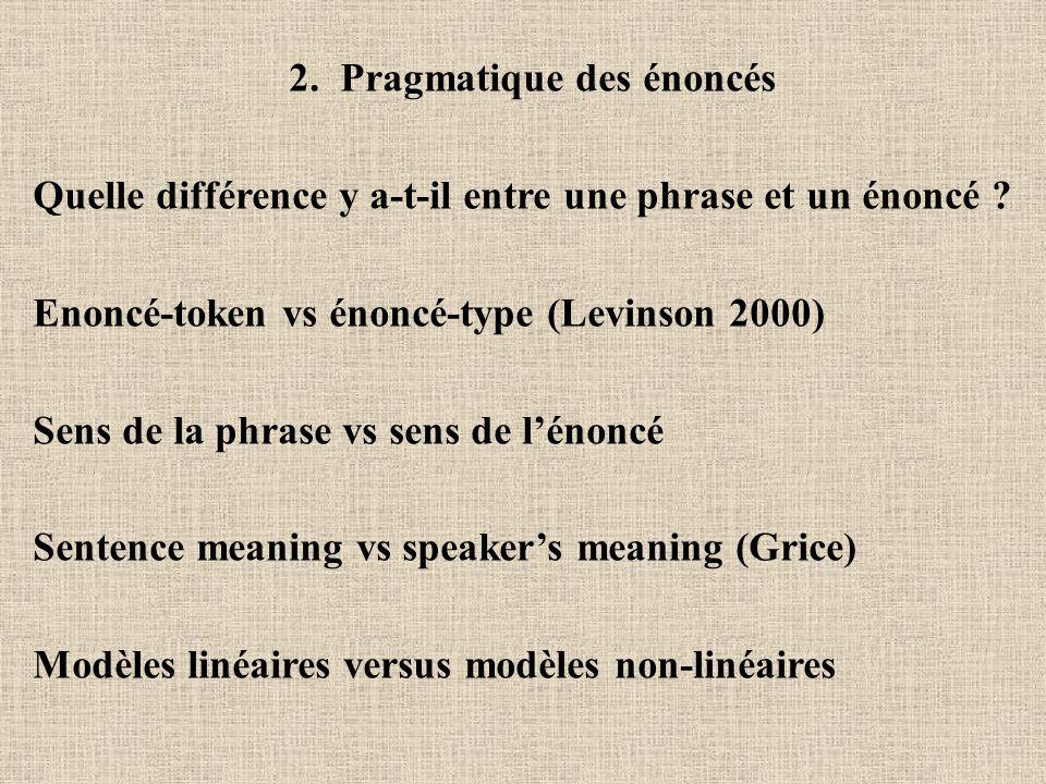 2. Pragmatique des énoncés Quelle différence y a-t-il entre une phrase et un énoncé ? Enoncé-token vs énoncé-type (Levinson 2000) Sens de la phrase vs