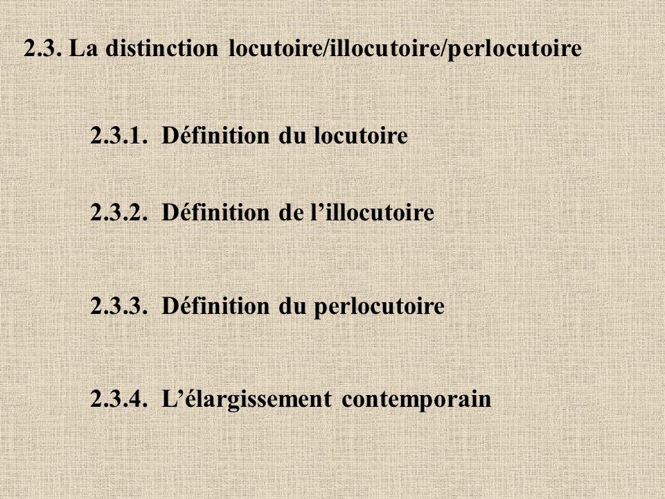 2.3. La distinction locutoire/illocutoire/perlocutoire 2.3.1. Définition du locutoire 2.3.2. Définition de lillocutoire 2.3.3. Définition du perlocuto