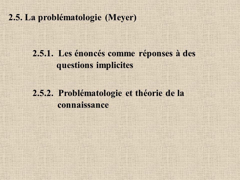 2.5. La problématologie (Meyer) 2.5.1. Les énoncés comme réponses à des questions implicites 2.5.2. Problématologie et théorie de la connaissance