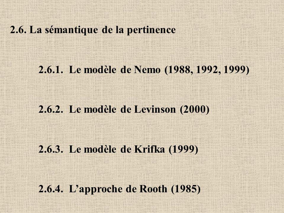 2.6. La sémantique de la pertinence 2.6.1. Le modèle de Nemo (1988, 1992, 1999) 2.6.2. Le modèle de Levinson (2000) 2.6.3. Le modèle de Krifka (1999)