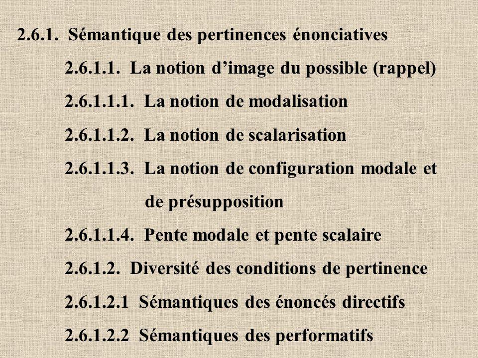 2.6.1. Sémantique des pertinences énonciatives 2.6.1.1. La notion dimage du possible (rappel) 2.6.1.1.1. La notion de modalisation 2.6.1.1.2. La notio