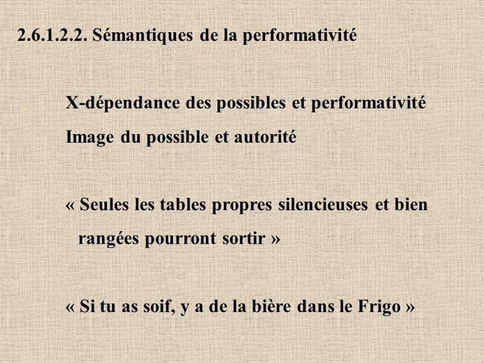 2.6.1.2.2. Sémantiques de la performativité X-dépendance des possibles et performativité Image du possible et autorité « Seules les tables propres sil