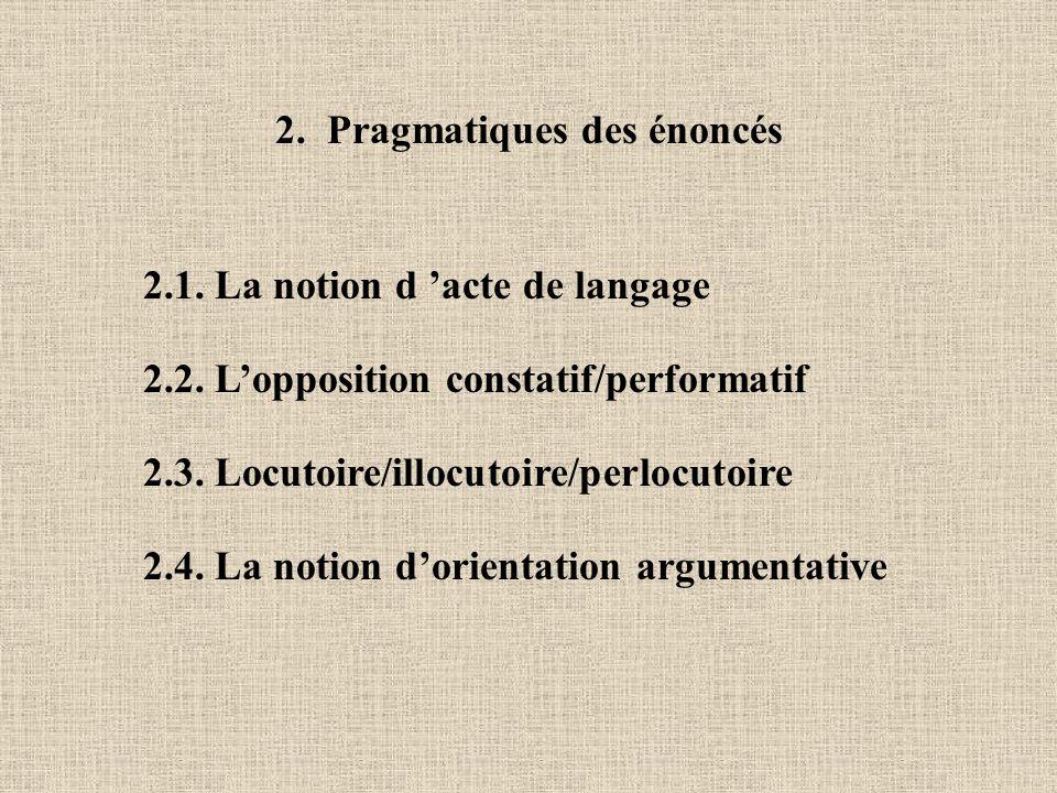 2. Pragmatiques des énoncés 2.1. La notion d acte de langage 2.2. Lopposition constatif/performatif 2.3. Locutoire/illocutoire/perlocutoire 2.4. La no