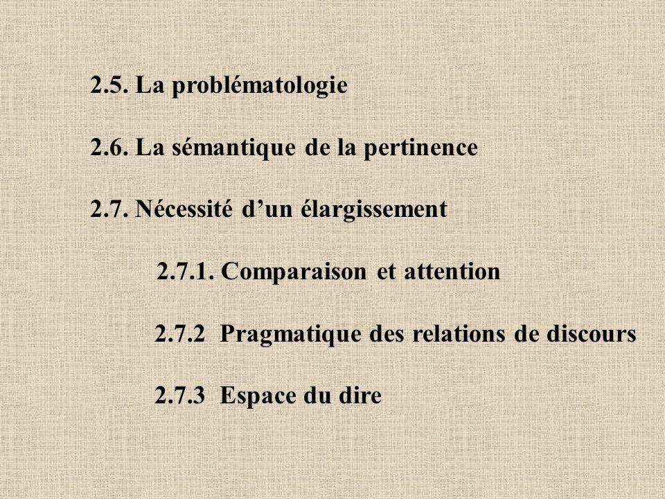 2.5. La problématologie 2.6. La sémantique de la pertinence 2.7. Nécessité dun élargissement 2.7.1. Comparaison et attention 2.7.2 Pragmatique des rel