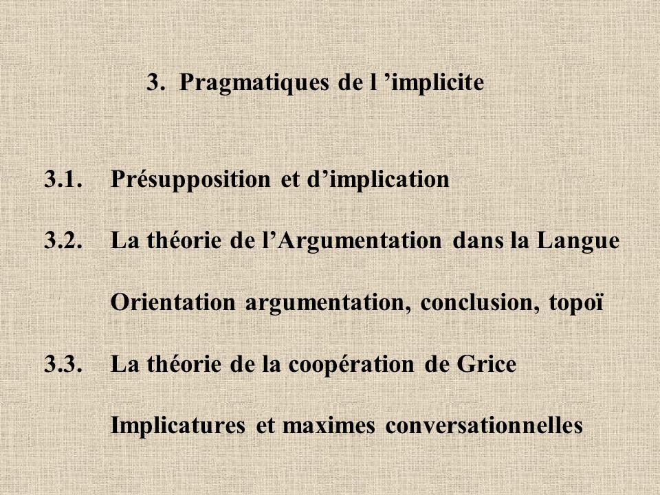 3. Pragmatiques de l implicite 3.1. Présupposition et dimplication 3.2. La théorie de lArgumentation dans la Langue Orientation argumentation, conclus