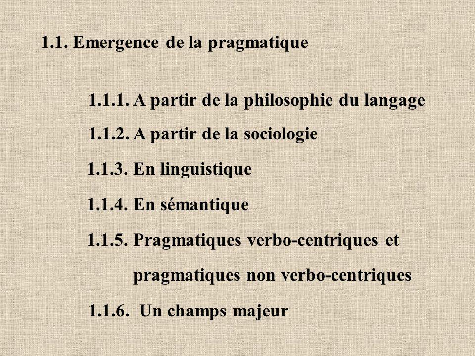 1.1. Emergence de la pragmatique 1.1.1. A partir de la philosophie du langage 1.1.2. A partir de la sociologie 1.1.3. En linguistique 1.1.4. En sémant