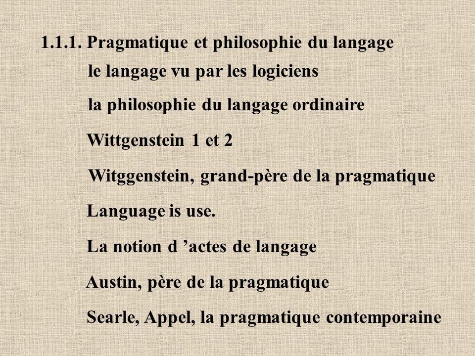 1.1.1. Pragmatique et philosophie du langage le langage vu par les logiciens la philosophie du langage ordinaire Wittgenstein 1 et 2 Witggenstein, gra