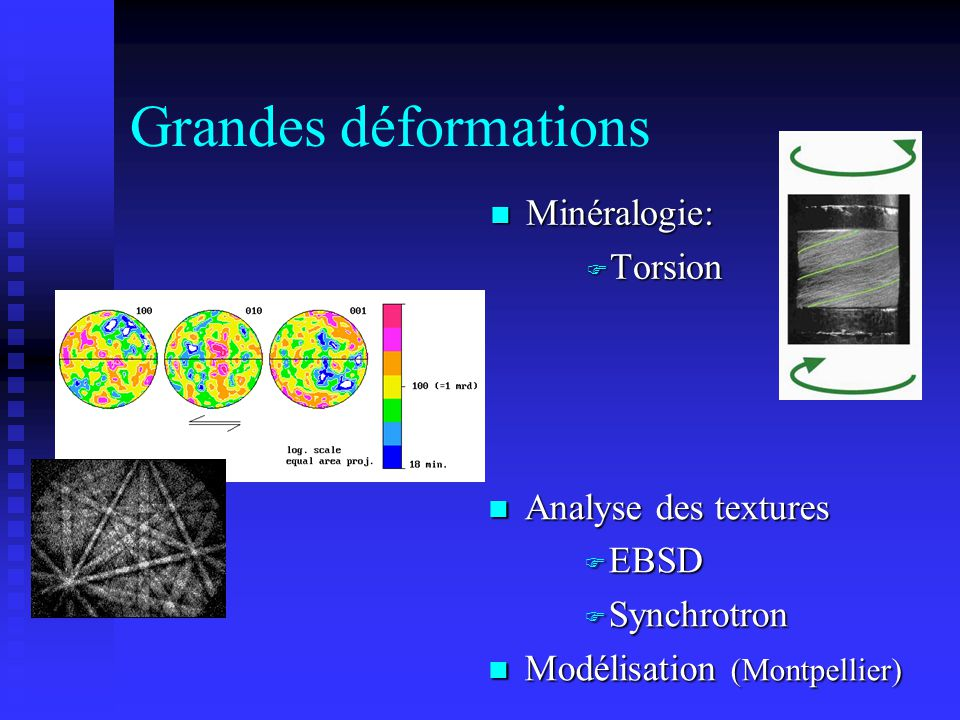 Grandes déformations n Analyse des textures F EBSD F Synchrotron n Modélisation (Montpellier) n Minéralogie: F Torsion