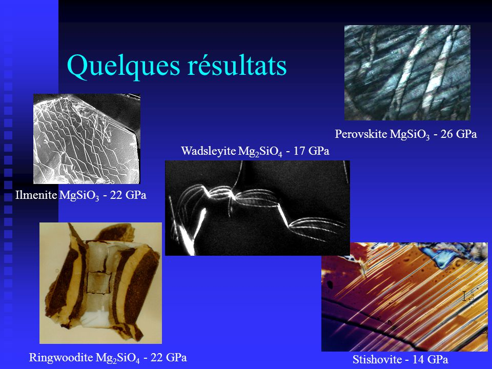 Quelques résultats Perovskite MgSiO 3 - 26 GPa Ringwoodite Mg 2 SiO 4 - 22 GPa Stishovite - 14 GPa Ilmenite MgSiO 3 - 22 GPa Wadsleyite Mg 2 SiO 4 - 1
