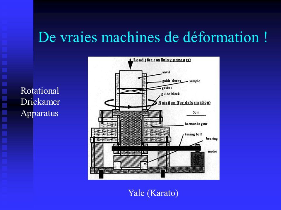 De vraies machines de déformation ! Yale (Karato) Rotational Drickamer Apparatus