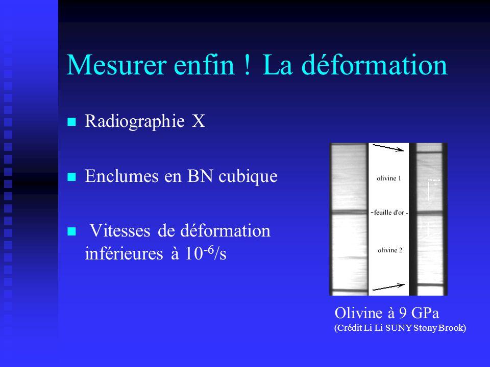 Mesurer enfin !La déformation n n Radiographie X n n Enclumes en BN cubique n n Vitesses de déformation inférieures à 10 -6 /s Olivine à 9 GPa (Crédit