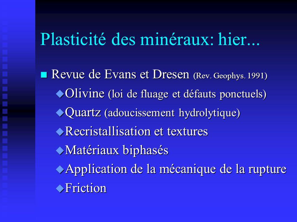 Plasticité des minéraux: hier... n Revue de Evans et Dresen (Rev. Geophys. 1991) u Olivine (loi de fluage et défauts ponctuels) u Quartz (adoucissemen