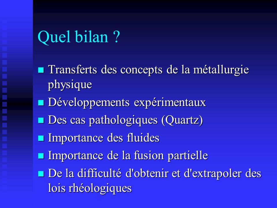Quel bilan ? n Transferts des concepts de la métallurgie physique n Développements expérimentaux n Des cas pathologiques (Quartz) n Importance des flu