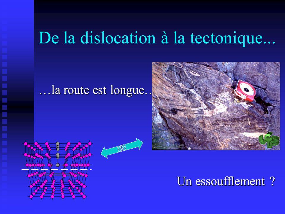 De la dislocation à la tectonique... …la route est longue…… Un essoufflement ?