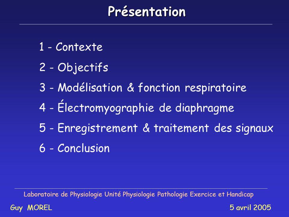 Laboratoire de Physiologie Unité Physiologie Pathologie Exercice et Handicap Analyse de la fatigue respiratoire par traitement du signal issu de lélec
