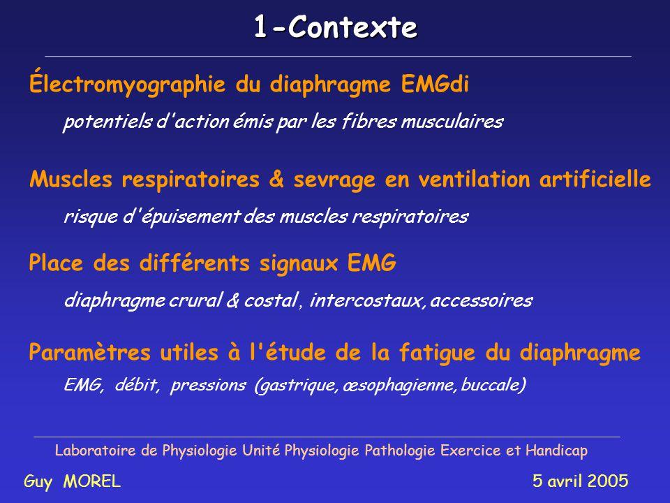 Présentation Laboratoire de Physiologie Unité Physiologie Pathologie Exercice et Handicap Guy MOREL 5 avril 2005 1 - Contexte 2 - Objectifs 3 - Modéli