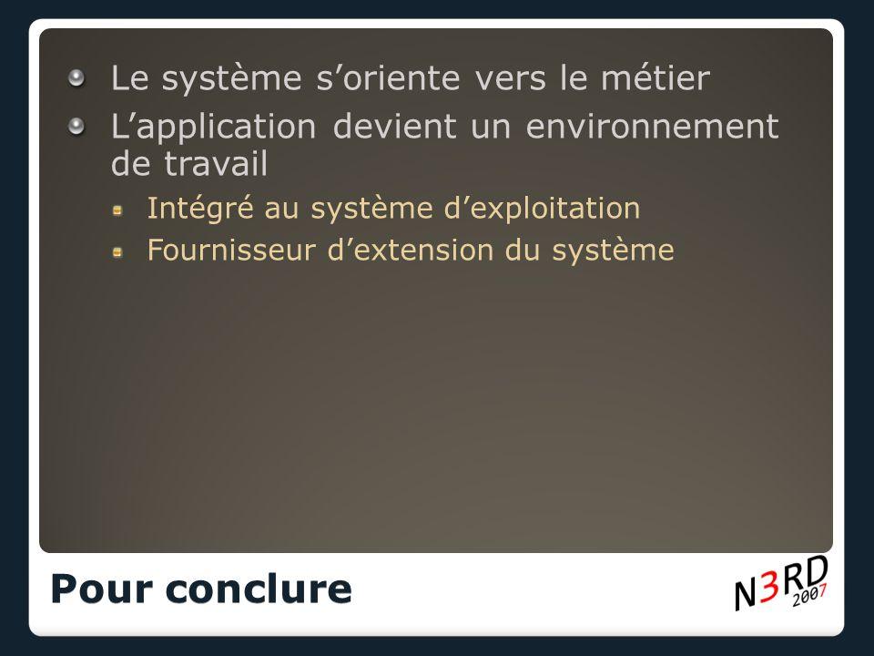 Le système soriente vers le métier Lapplication devient un environnement de travail Intégré au système dexploitation Fournisseur dextension du système Pour conclure