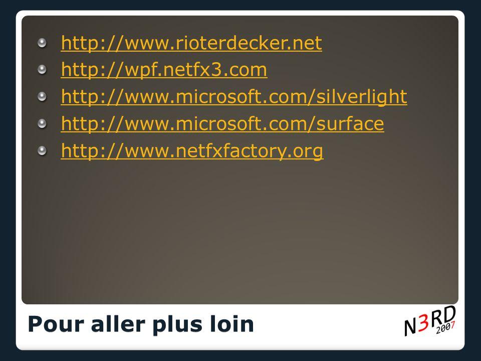 http://www.rioterdecker.net http://wpf.netfx3.com http://www.microsoft.com/silverlight http://www.microsoft.com/surface http://www.netfxfactory.org Pour aller plus loin