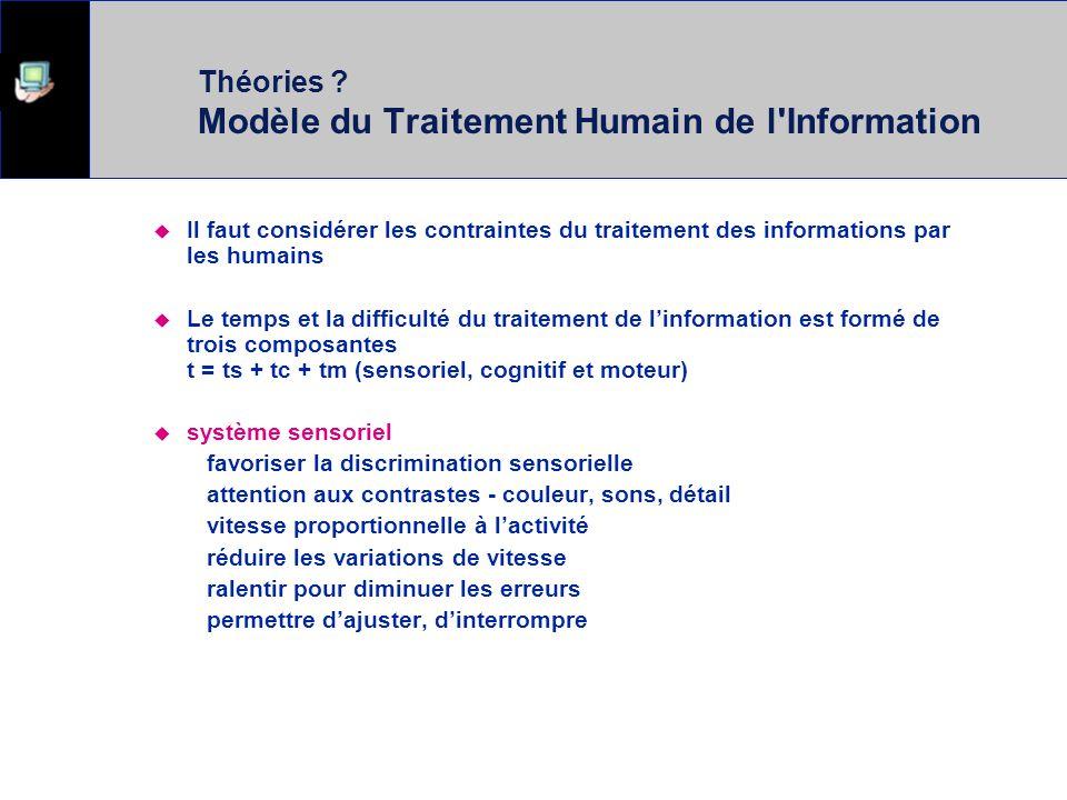 Modèle du Traitement Humain de l'Information Interaction entre un système humain et une machine Quelles sont les contraintes ? La technologie les repo