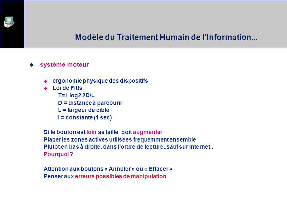 Théories ? Modèle du Traitement Humain de l'Information Il faut considérer les contraintes du traitement des informations par les humains Le temps et