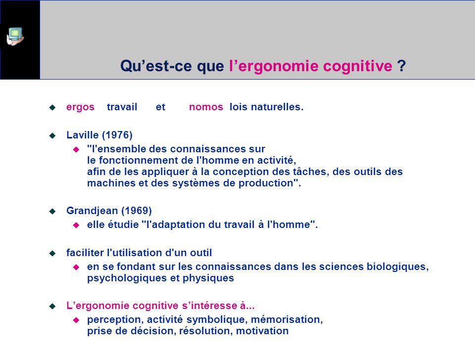 Les concepts de bases Ergonomie cognitive ? Utilisabilité Modèle de laction et des interfaces (Norman 1986) Human information processing Manipulation