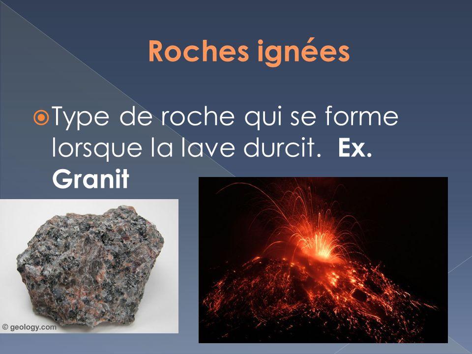 Type de roche qui se forme lorsque la lave durcit. Ex. Granit