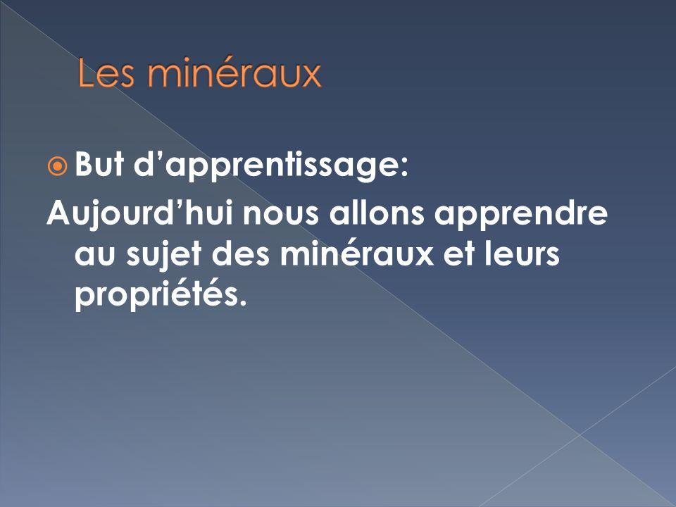 But dapprentissage: Aujourdhui nous allons apprendre au sujet des minéraux et leurs propriétés.
