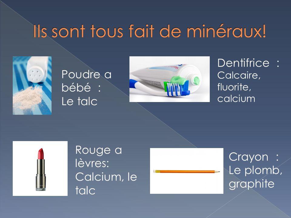 Poudre a bébé : Le talc Rouge a lèvres: Calcium, le talc Crayon : Le plomb, graphite Dentifrice : Calcaire, fluorite, calcium