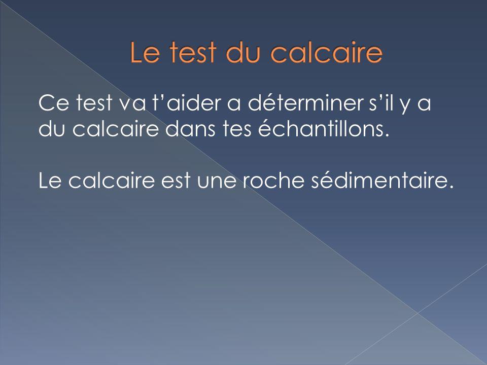 Ce test va taider a déterminer sil y a du calcaire dans tes échantillons. Le calcaire est une roche sédimentaire.