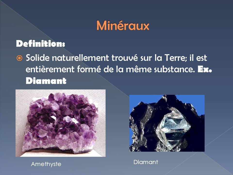 Definition: Solide naturellement trouvé sur la Terre; il est entièrement formé de la même substance. Ex. Diamant Amethyste Diamant