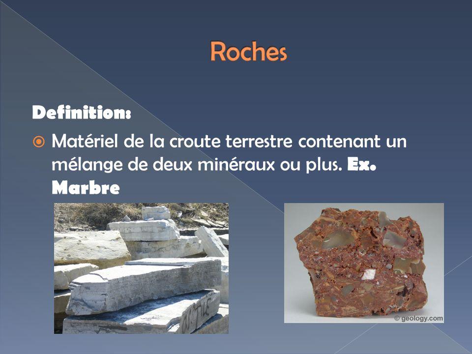 Definition: Matériel de la croute terrestre contenant un mélange de deux minéraux ou plus. Ex. Marbre