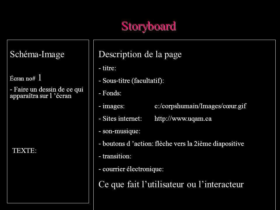 Pourquoi développer un storyboard ou un découpage technique Planification rigoureuse oblige à une planification précise demande à signifier le visuel: